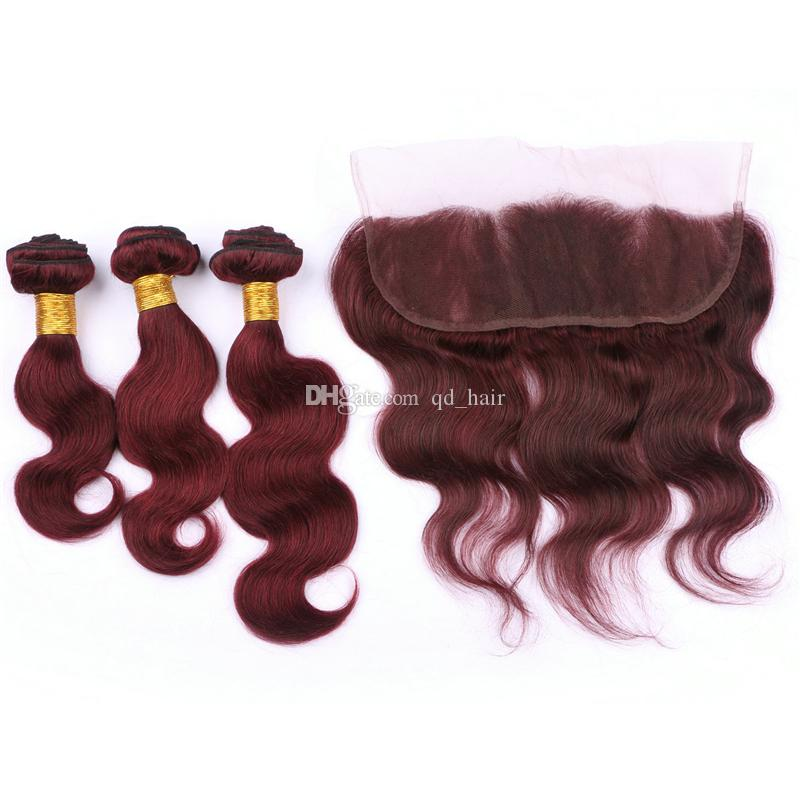 99j тела волна пучки волос с кружевом фронтальной 13x4 4 шт. / лот бордовый человеческих волос пучки с кружева фронтальная закрытие