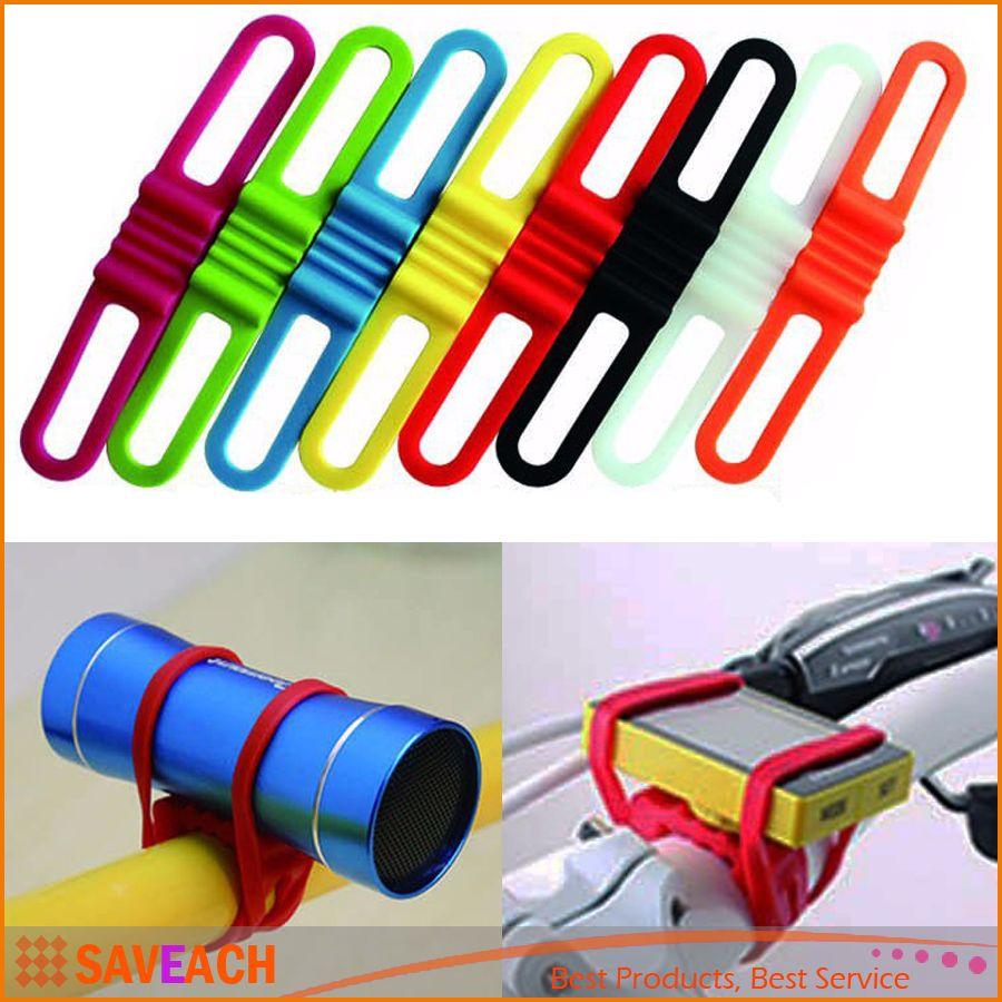 Cycling bicycle bike Elastic Silicone strap bandage fastening band Handset water bottle flash light mount holder