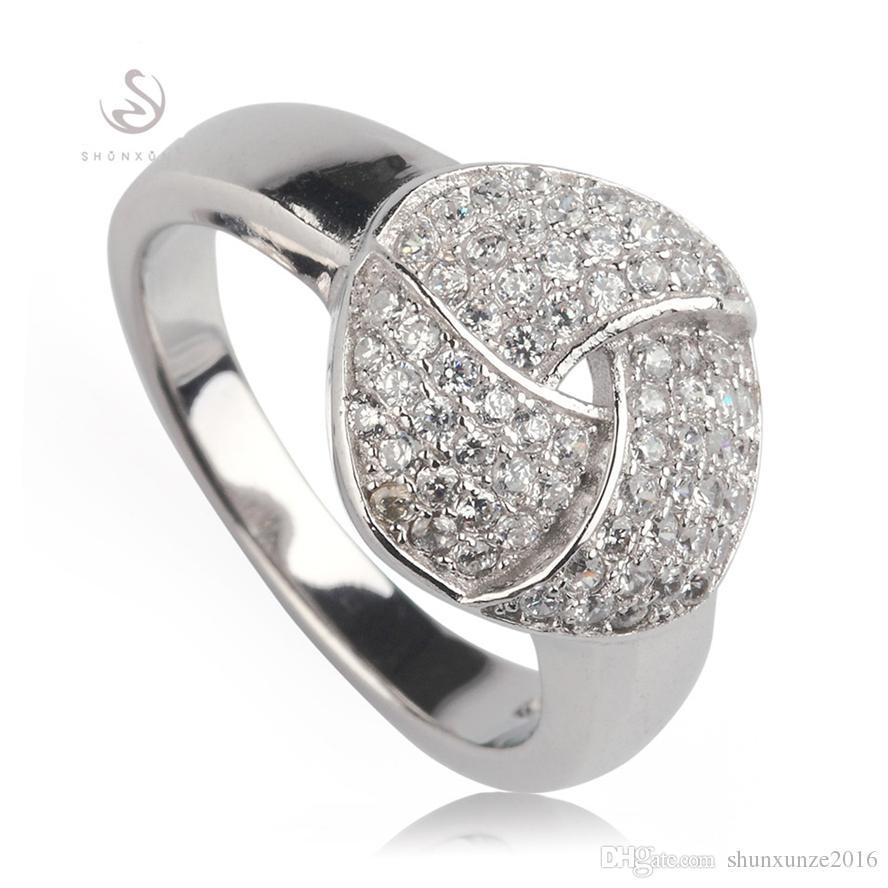 Kupfer rhodiniert Promotion Rings White Zirkonia Favorit MN3254 Sz # 6 7 8 9 Edle großzügige Bestseller Das neue Angebot Shinning