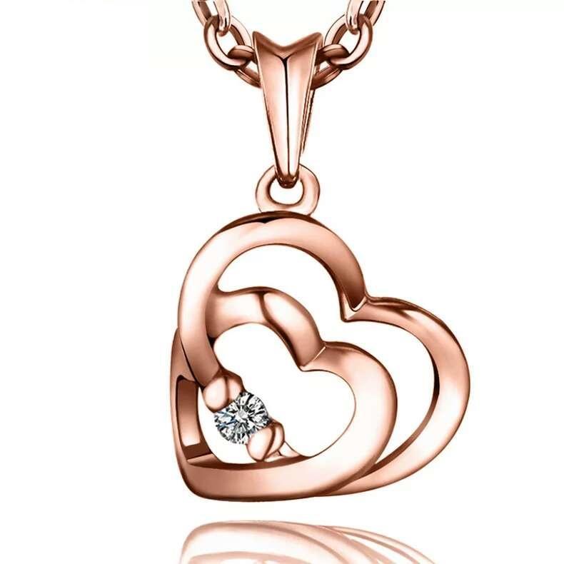 Bijoux en argent femme bijoux en cristal double coeur pendentif en diamant déclaration collier or rose couleur charmes
