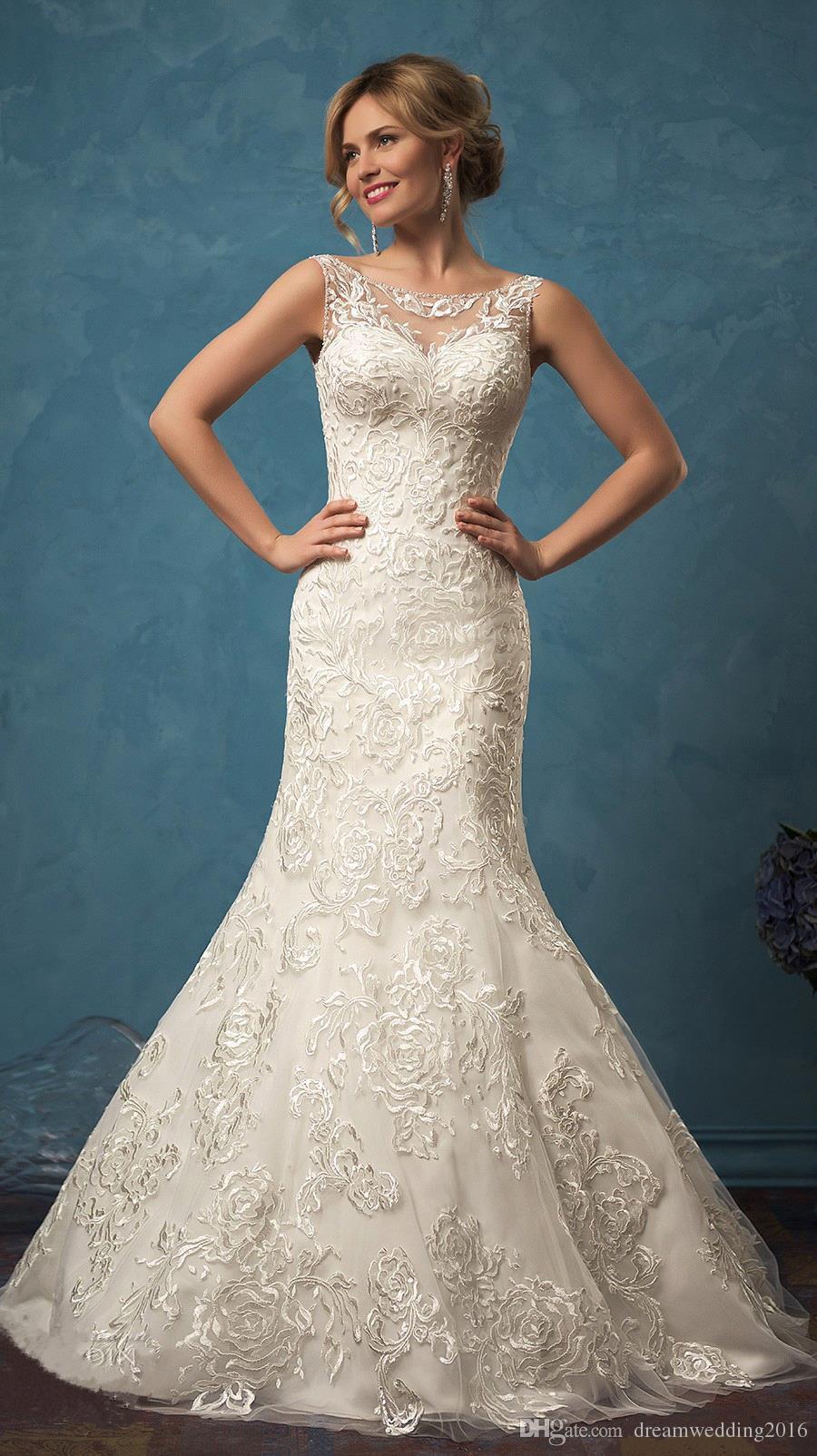 2017 New Amelia Sposa Wedding Dresses Vintage Lace Mermaid Bridal ...
