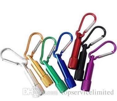 600pcs natal aniversário acende presentes LED Mini Lanterna da liga de alumínio da tocha com corrente mosquetão anel Chaveiros Key mini-lanterna LED