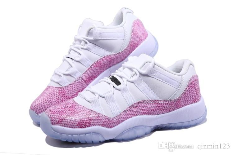 with box 11 low GS pink white snake women basketball shoes 11s size eur 36-39 diocount price