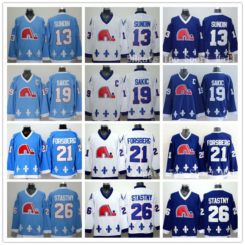 Quebec Nordiques Trikots Eishockey 13 Mats Sundin 21 Peter Forsberg 26 Peter Stastny 19 Joe Sakic Team Farbe Marineblau Weiß