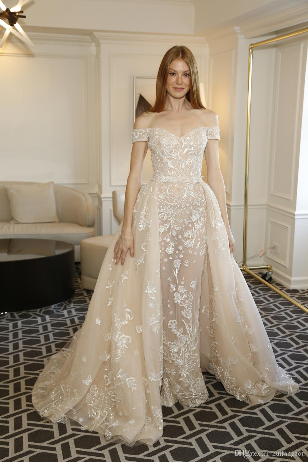 Discount Vintage Zuhair Murad Champagne Wedding Dress Off The Shoulder Wedding Dresses Overkskirt Lace Appliques Country Bridal Gowns Custom Made Cheap Bridal Gowns Civil Wedding Dresses From Huifangzou 177 16 Dhgate Com