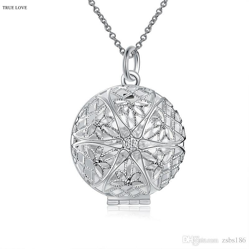 925 silver frame necklace hollow circle can open classic charm jewelry woman top quality free shipping