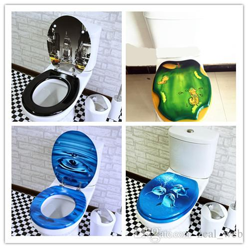 Water-drop color print toilet lid & seat toilet cover quick Close Kirsite Metal Hinges MDF Easy Installation & Cleaning
