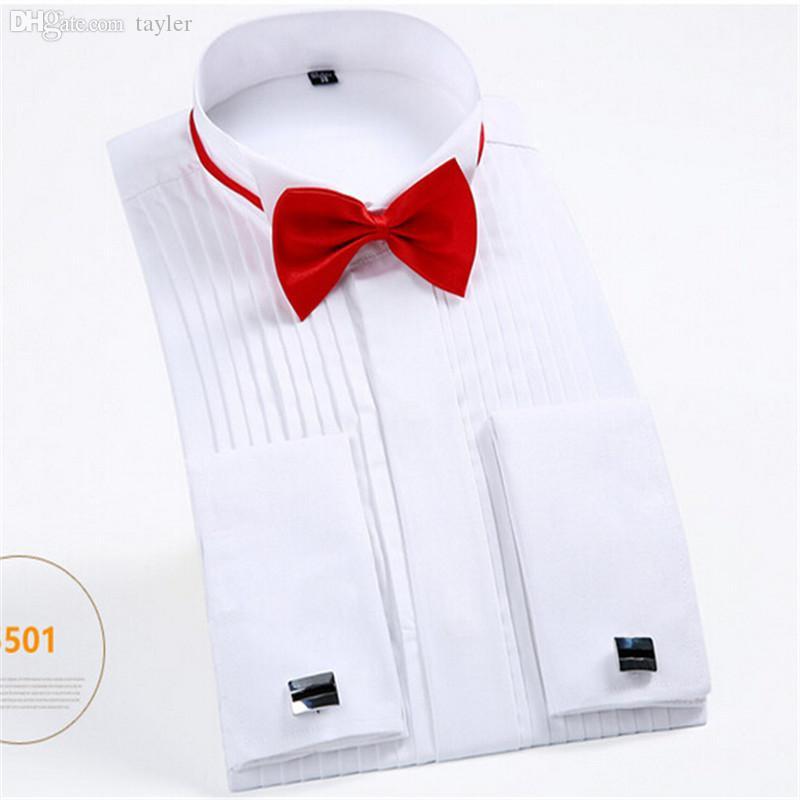 Großhandels-französische Manschettenknopf-Mann-Kleid-Hemd-lange Hülsen-Männer Smoking-Hemd-Mann-Hochzeitsbräutigam-Hemdweißschwarzes