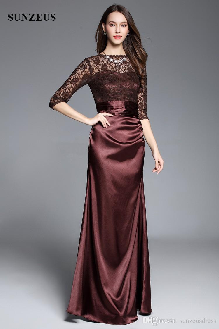 Großhandel Lace Halbarm Lange Satin Frauen Abendkleider Elegant Braun  Mutter Der Braut Party Kleid Formale Kleider Von Sunzeusdress, 12,12 € Auf