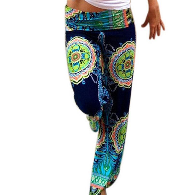 Оптовые - горячие богемные женщины старинные брюки широкие брюки ног дамы бохо Печать абстрактные цветы одежда свободно женские брюки брюки K108
