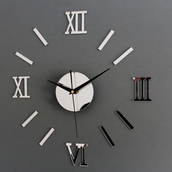 New-Fashion-Chic-Adhesive-Silver-Vintage-Roman-Numeral-Number-Frameless-Wall-Clock-3D-Home-Decor-High