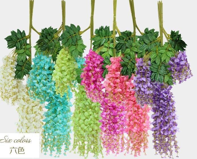 İpek Wisteria rattans Düğün Ev Partisi Çiçek süslemeler 6 Renkler Yapay Wisteria Çiçek askıbezekler İpek Bean Vine Çiçekler