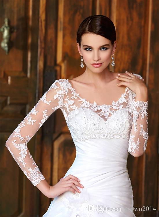 Sheer Scoop/V-neck/High/Bateau Neck Long Sleeve Covered Buttons Lace Applique Bridal Wraps & Jackets For Wedding Dresses Bridal Accessories