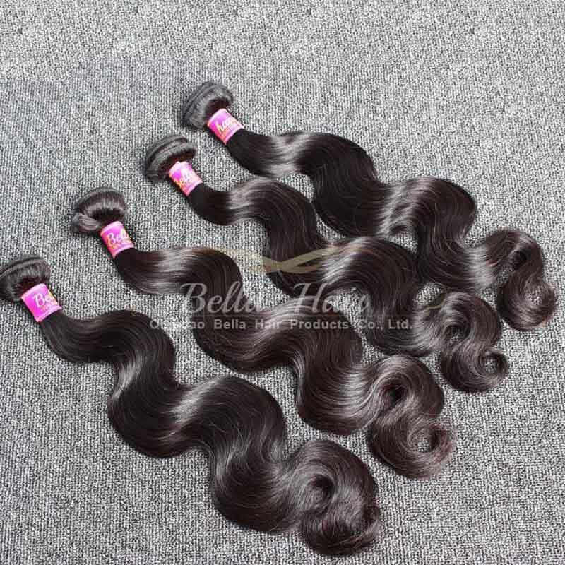 モンゴルの髪の織り4個/ロットバージン人間の髪の体の波ヘアチュエンション自然色Bellahair