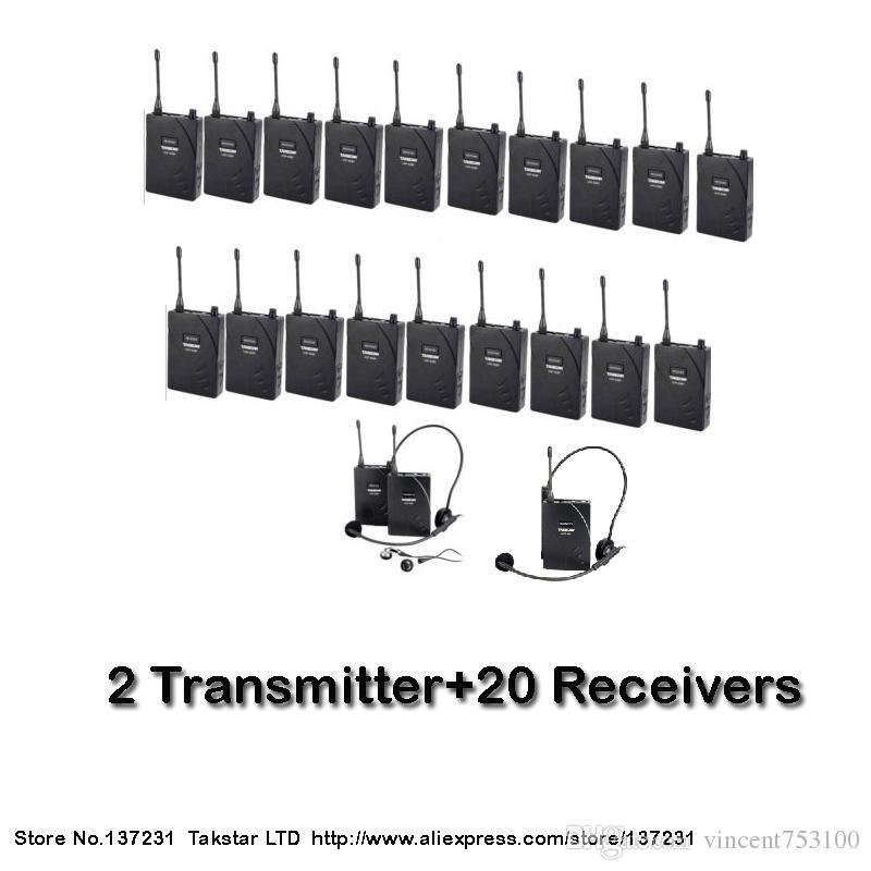 NUEVO Entrenamiento de guía turístico Takstar UHF-938 Frecuencia UHF Sistema de guía de viaje inalámbrico 50m Rango de operación 2 Transmisor + 20 Receptores