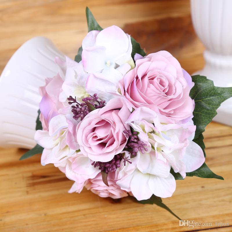 Spedizione gratuita 4 colori Emulational Primavera Artificiale Rosa Ortensia fiore Mazzi di Seta Fiore All'ingrosso weddding o Home Room decorazione