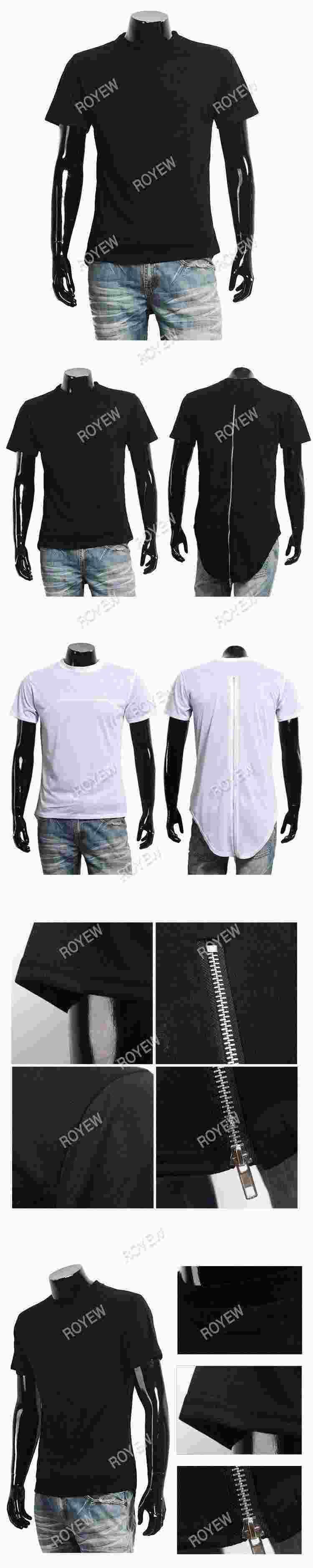 ROYEW Black White T shirt tyga Hot sale XXL Long Back Zipper Streetwear Swag Man Hip Hop Skateboard T-shirt Top Tee Men Clothing
