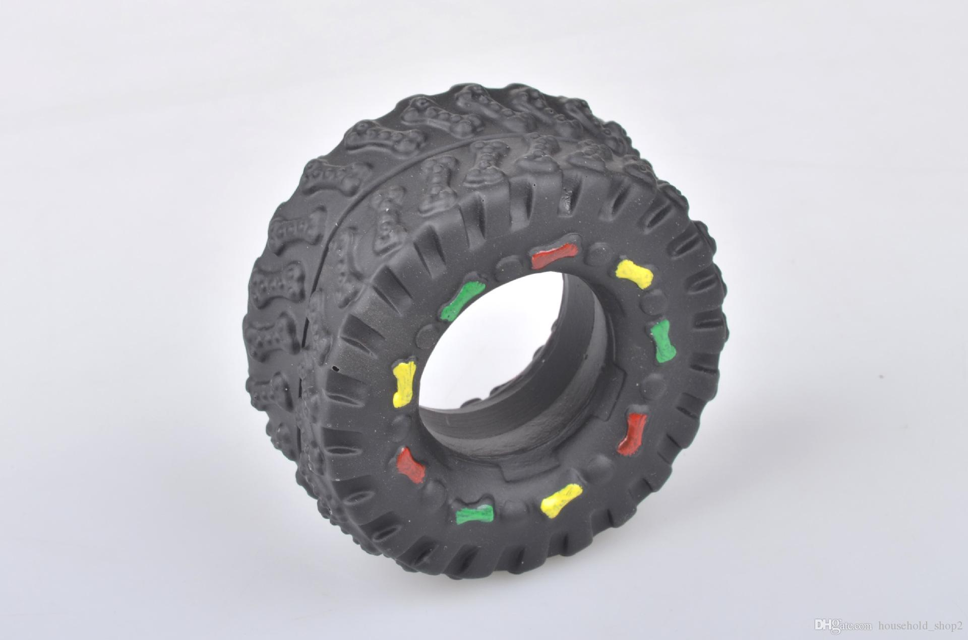 Pet Dog Cat Animal Chews Squeaky Sound Rubber Tire Shape Dogs Toy Teeth Bite Resistant Tire Pets Toys