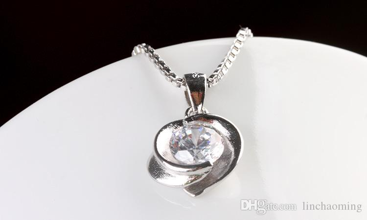 HYWo (senza catena) Collana in argento sterling 925 CZ con ciondolo in cristallo vintage rose style Gioielli ipoallergenici regalo per le donne