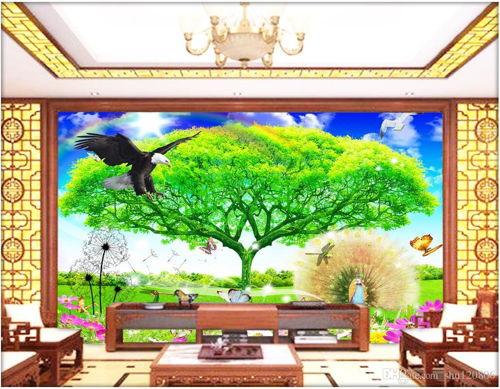 3d Wallpaper Custom Photo Outdoor Tree Eagle Scenery Decoration