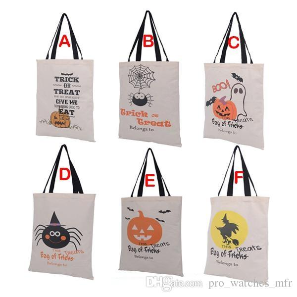 2016 Hot Sale Halloween Gift Bags Large Cotton Canvas Hand Bags Pumpkin,Devil,Spider Printed Halloween Candy Gift Bags Gift Sack Bags F705-1