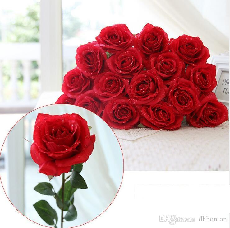 Water drop Rose Silk Craft Flowers real look Flowers For Wedding home Decoration 8 Color Cheap Sale HR019