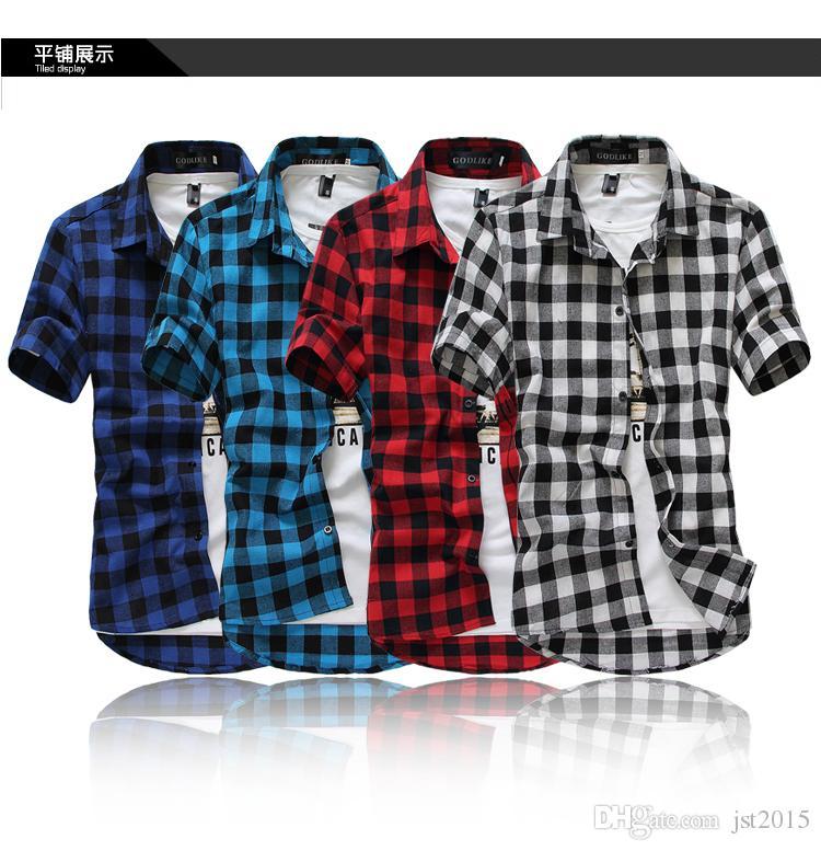 Chemises à manches courtes pour hommes en gros-été classique à carreaux, chemises décontractées pour hommes en coton, livraison gratuite par China Post Air Mail, M-XXXL,