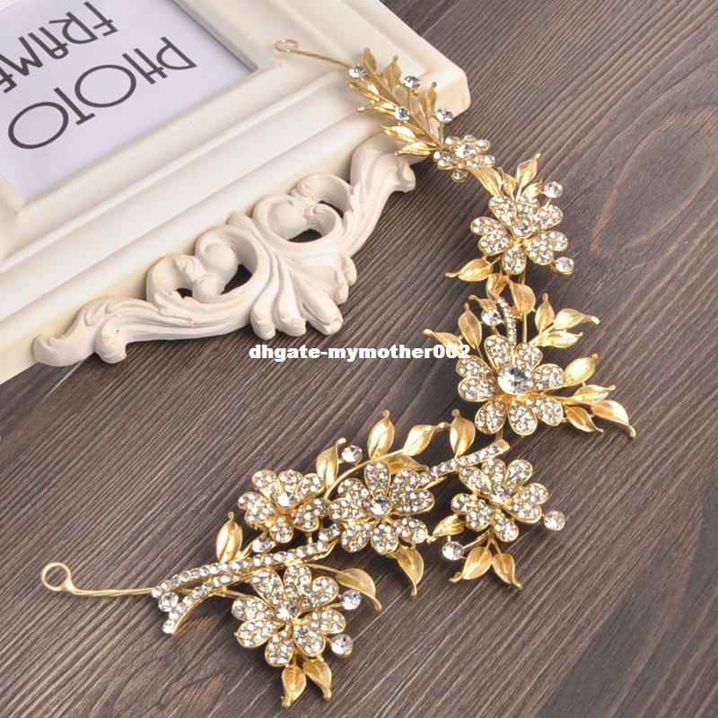 Dama de honor color oro accesorios para el cabello Rhinestone nupcial tocado de novia de cristal flor de la hoja de la joyería del pelo
