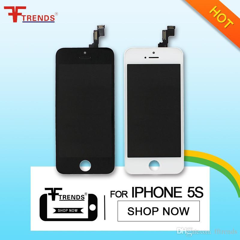 Wyświetlacz LCD Ekran dotykowy Digitizer z ramką Pełny montaż Części zamienne do iPhone 5s Free DHL Shipping