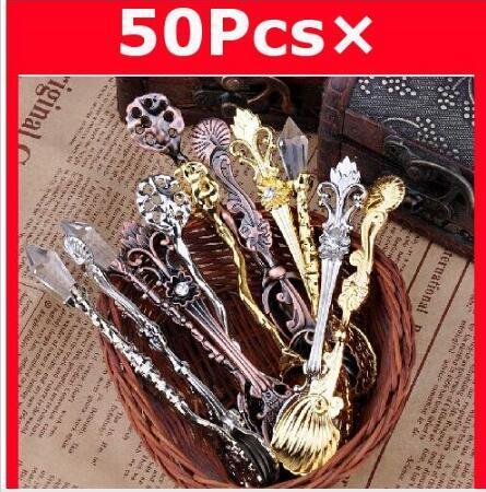 무료 배송 12PCS 빈티지 금은 커피 스푼 아이스크림 스푼 로얄 바람 스푼