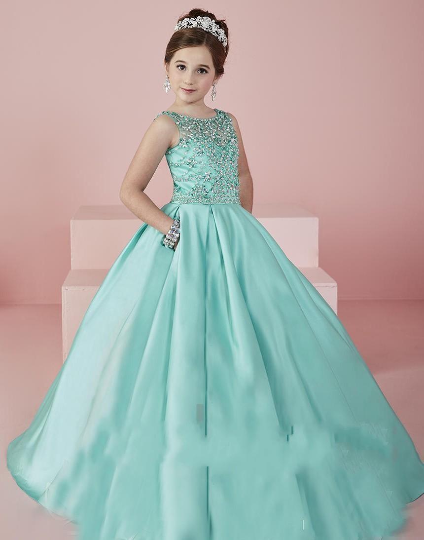 Sheer Neck Beaded Crystal Satin Mint Green Flower Girl Gowns Formal ...