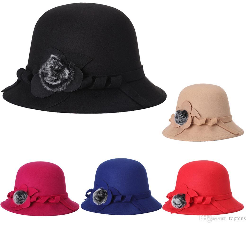 Moda Feminina Senhora Outono Inverno Quente Senhoras Elegantes Balde De Malha Do Vintage Chapéu De Pele Cap