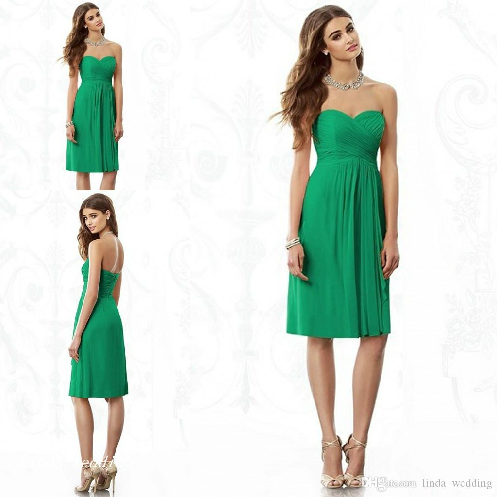 großhandel jade green brautjungfer kleid eine linie chiffon knielangen  kurze trauzeugin kleid für hochzeit kleid von linda_wedding, 52,92 € auf