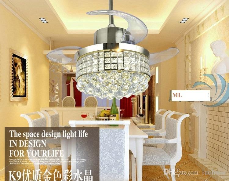 Controller ceiling chandelier fan crystal light LED living room dining room Minimalism modern fan lamp ceiling chandelier 42inch