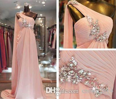 Elegant Beaded One Shoulder Pink Prom Dresses Chiffon A-Line Sweep Train Pleated Real Picture Evening Gowns 2019 Formal Dresses