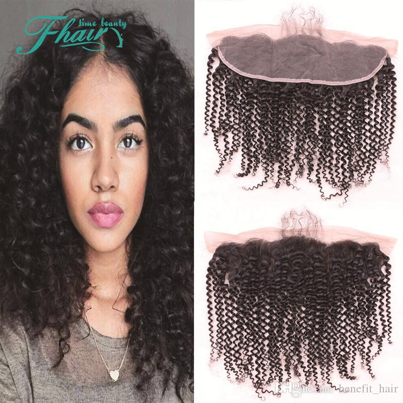 9A Brazilian Curly Lace Frontal 13x4 Kinky Curly Lace Frontal Closure With Baby Hair Human Hair Full Lace Frontal Closure DHL Free Shipping