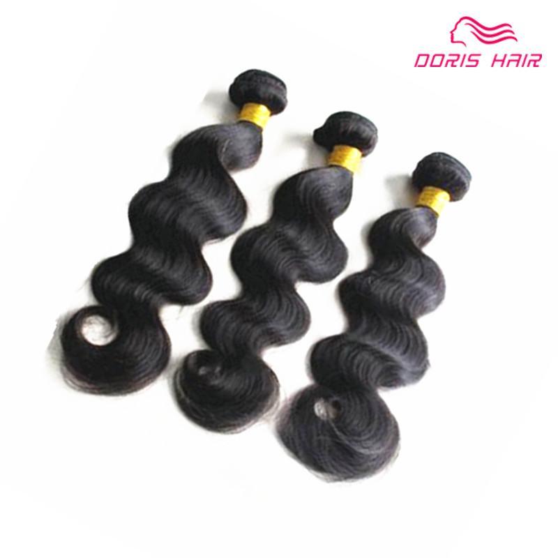 Doris malezya insan saçı demetleri doğal renk 3 adet / grup en kaliteli 100 ham İnsan saç vücut dalga saç atkı dokuma ÜCRETSIZ KARGO
