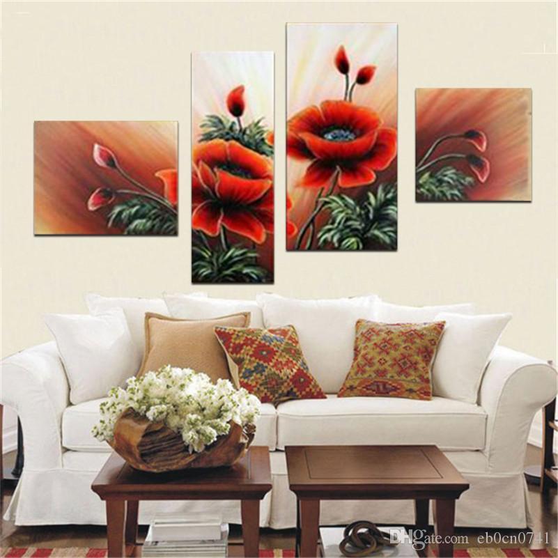 Decorativa abstracta pintada a mano pintura al óleo sobre lienzo de alta calidad de pared arte paisajismo flores decoración 4pcs / set