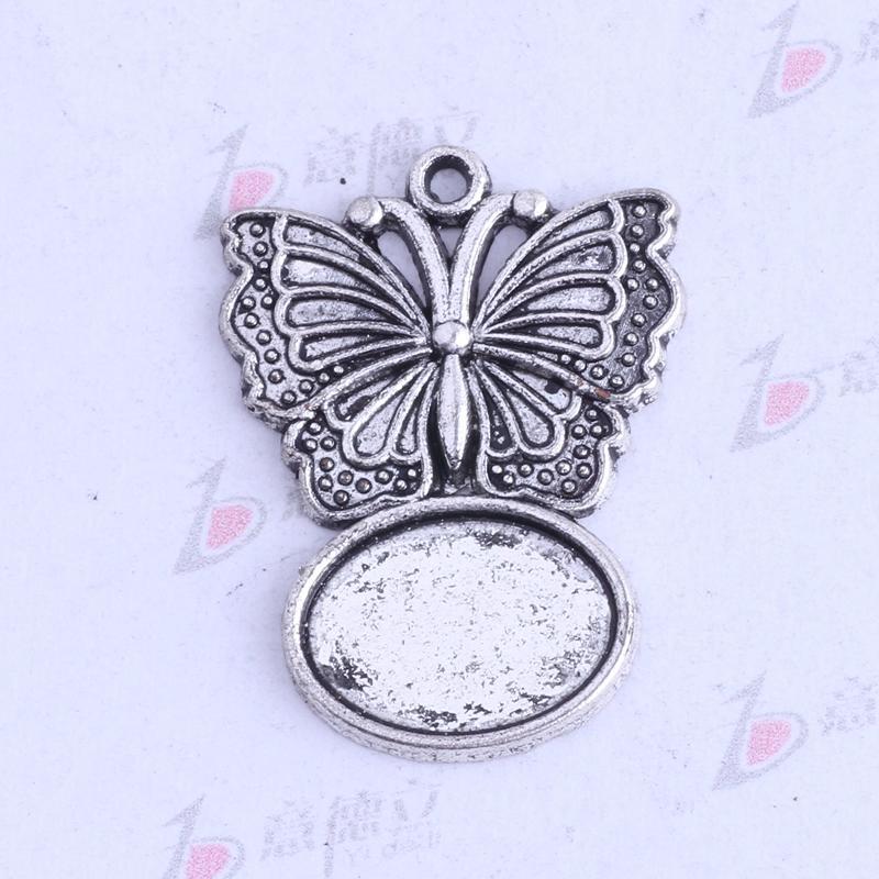 La plata antigua 29.3 * 21.6mm mariposa encantos de base de corcho diseño oval de la vendimia / de bronce de aleación de zinc de bricolaje colgante encantos de la joyería 200pcs / lot 3463