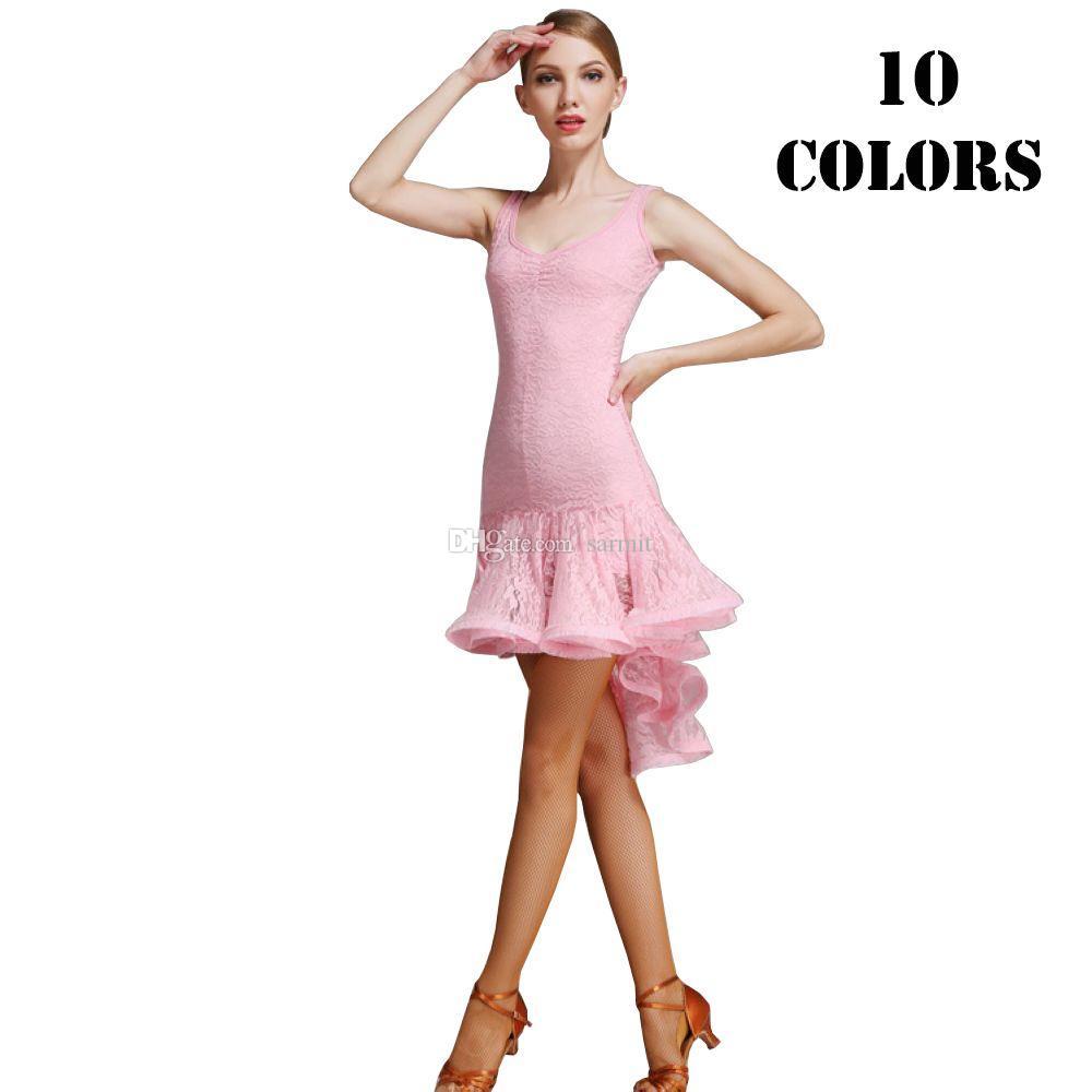 Latin Dance Dress Women CHEAPEST Full Lace 9 Colors Mermaid Fringed Dress Dancewear Latin D0601 Ruffled Hem