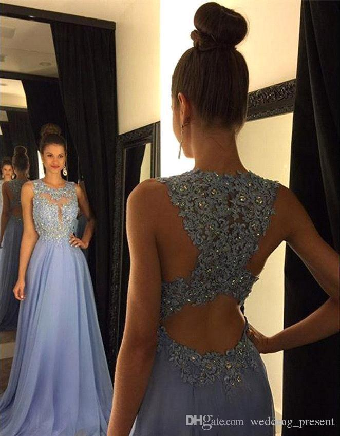 Eleganti abiti da ballo in chiffon lavanda 2016 con applicazioni in pizzo con perline abito da sera formale una linea girocollo abiti da festa 2017