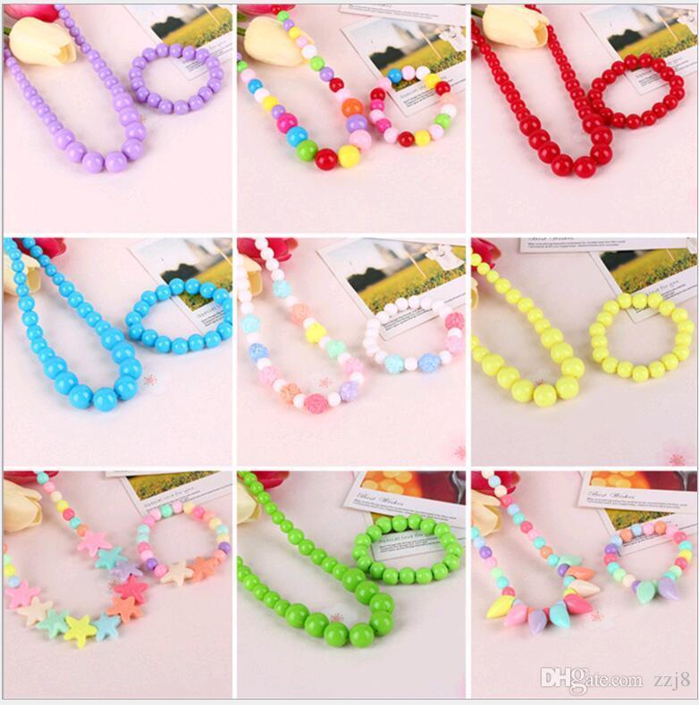Jóias bonito Sweet Candy cores Crianças 2pcs conjuntos de colar Crianças Pulseira para a menina presente Multicolor escolha