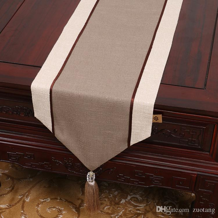 New Patchwork High End Table Runner Linen Modern Simple Tea Table Cloth Rectangle Dining Table Protective Mats 200x33 cm