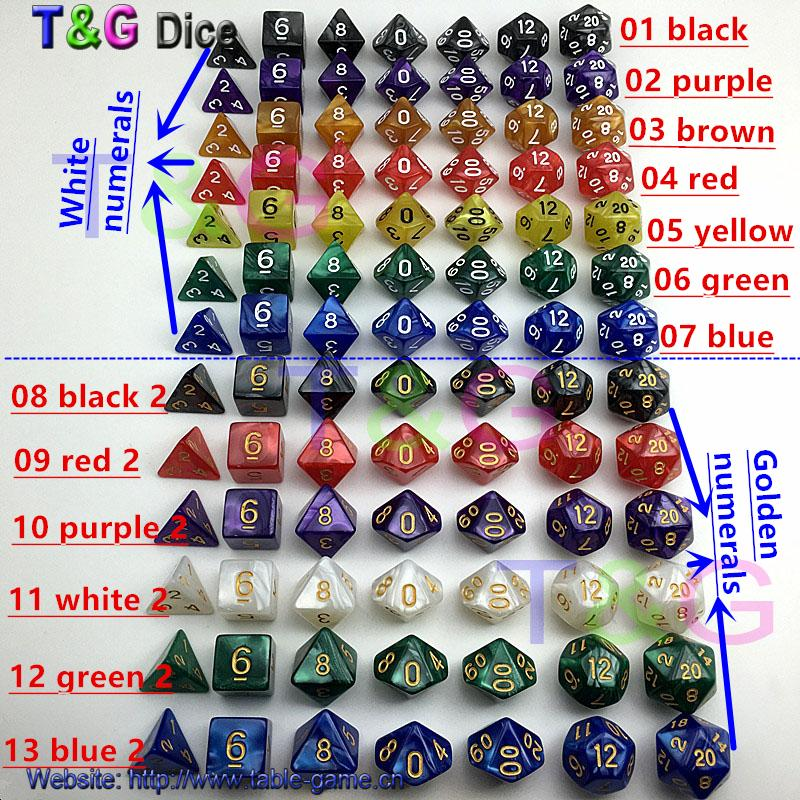 Großhandels-7pc / lot Würfelsatz Qualität multi-seitig Würfel mit Marmoreffekt d4 d6 d8 d10 d10 d12 d20 DUNGEON und DRAGONS rpg Würfelspiele