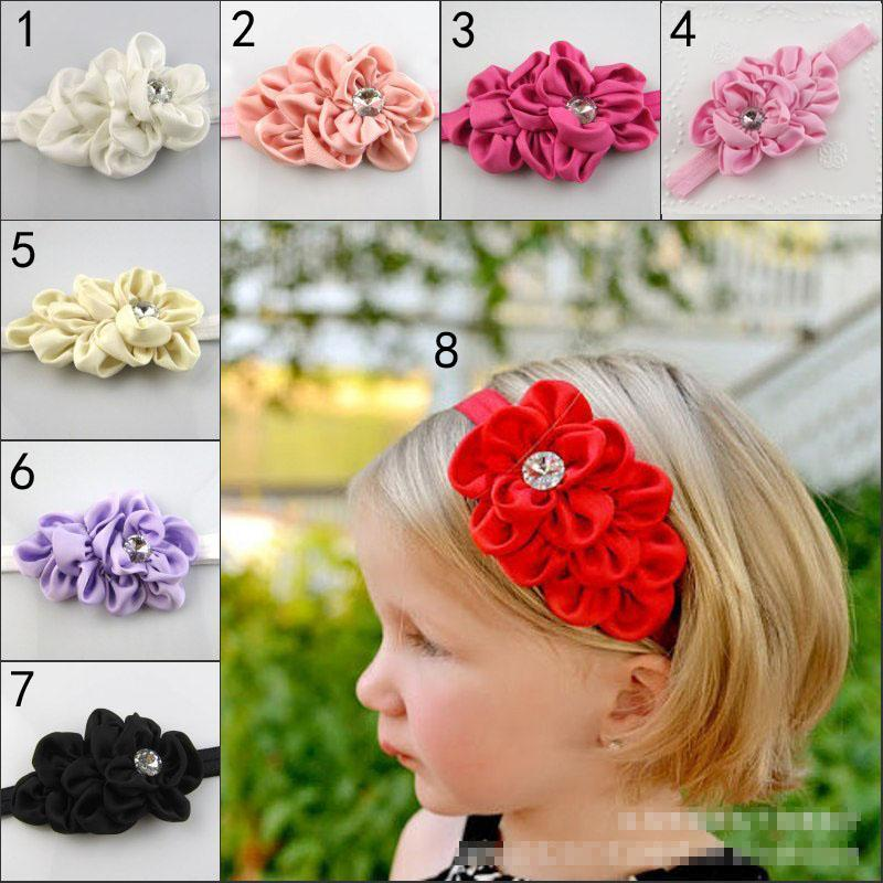 8 Color New Kids Girls Baby flower Chaton Headbands Girls Cute Bow Hair Band Infant Lovely Headwrap Children Bowknot Elastic Accessories