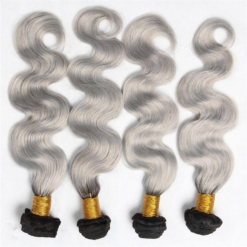 4 Paketler Lot # 1B / Gri Ombre Saç Örgüleri 9A brezilyalı İnsan Saç Şerit Gri Saç Demetleri Ucuz Fiyat Iki Ton Uzantıları