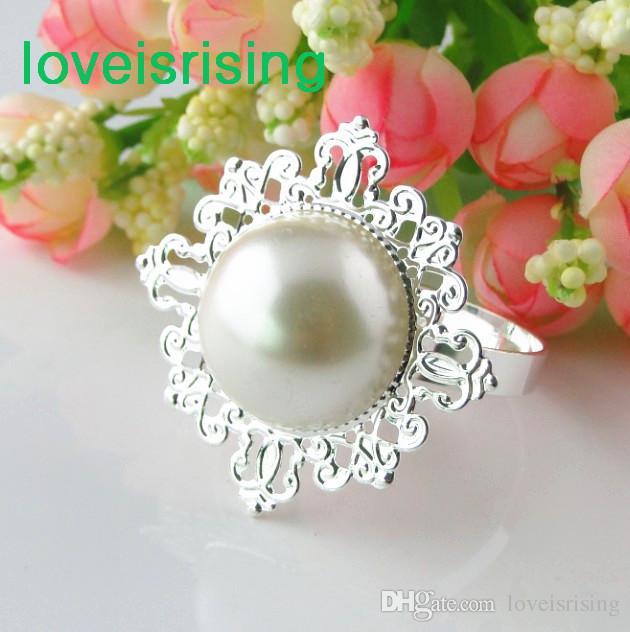 Precio más bajo-100% de alta calidad 50 unids marfil perla estilo vintage servilleta anillos boda nupcial ducha servilleta titular- envío gratuito