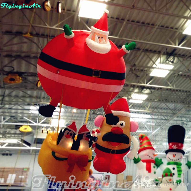 Christmas Inflatables.3m Store Hanging Fat Santa Ball Christmas Inflatable Santa With Penguins Pictures Of Christmas Decorations Pink Christmas Decorations From