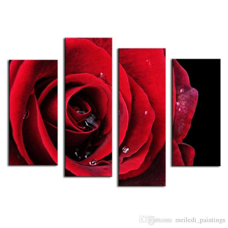 4 Picture Combination Flower Paintings Red Rose Modern Wall Painting Canvas Wall Art Picture Unframed Canvas Painting