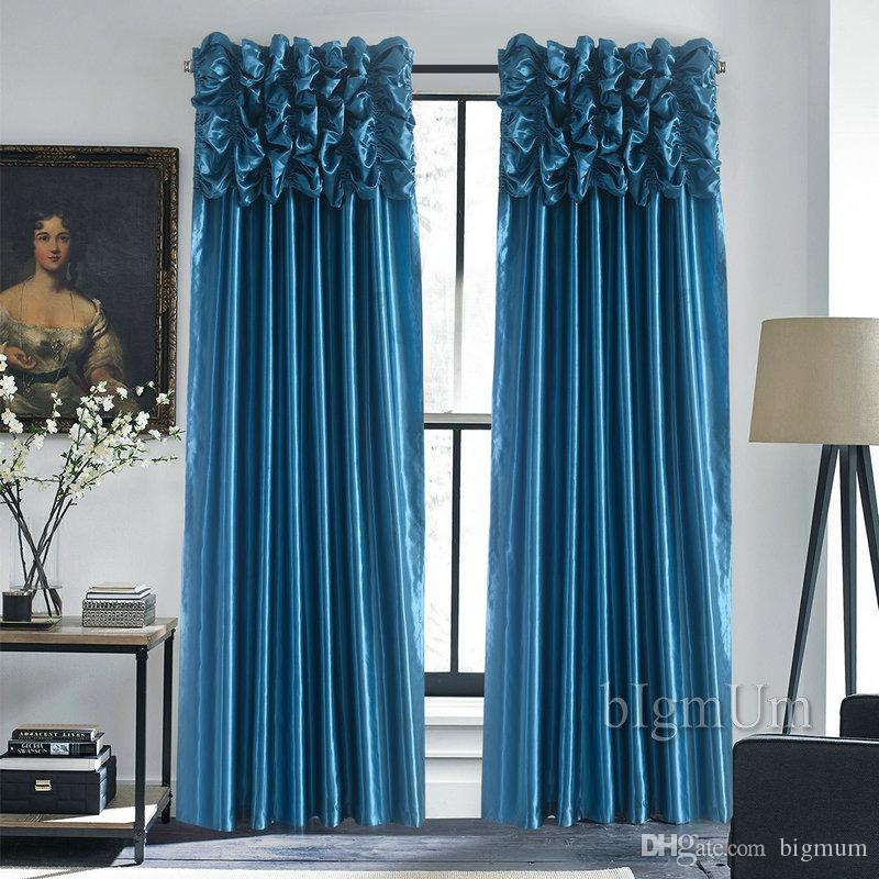 Luxury Valance & Curtain for Window Customized Ready Made Window Treatment /Drapes For Living Room/Bedroom Solid Color Panel